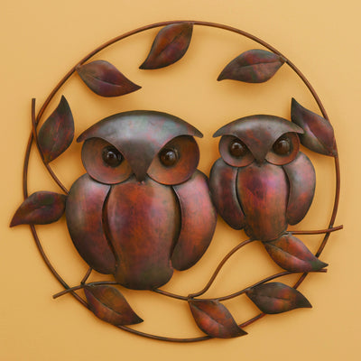Owl Duo Flamed Metal Wall Sculpture