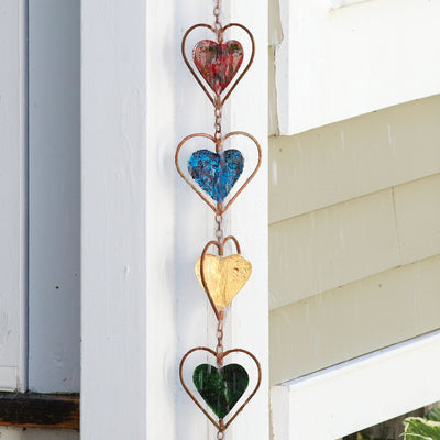 Hearts Multicolor Rain Chain 96 inch