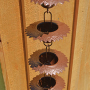 Leaf Cups Flamed Rain Chain 96 inch