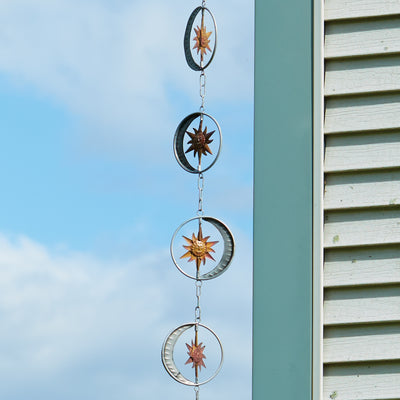 Sun & Moon Flamed/Zinc Rain Chain 95 inch