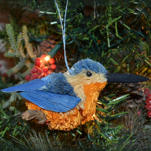 Kingfisher Bristle Brush Bird Ornament