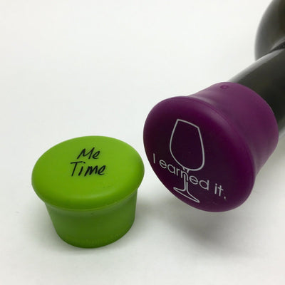 Me Time (Green) & I Earned It (Purple) Reusable Silicone Wine Bottle Cap - Momma's Home Store
