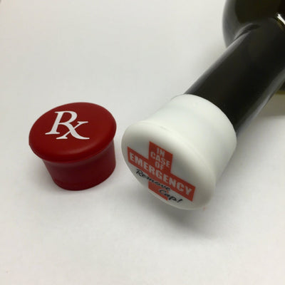 Rx (Red) & Emergency (White) Reusable Silicone Wine Bottle Cap - Momma's Home Store
