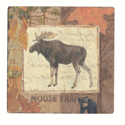 Moose Tracks Tumbled Tile Coasters Set of 4 - Momma's Home Store