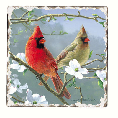 Cardinals Number 3 Single Tumbled Tile Coaster - Momma's Home Store