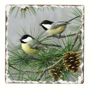 Chickadees Number 2 Single Tumbled Tile Coaster - Momma's Home Store