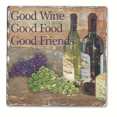 Good Wine Good Friends Single Tumbled Tile Coaster - Momma's Home Store