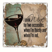 I Drink Wine Single Tumbled Tile Coaster - Momma's Home Store