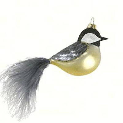 Feather Tail Chickadee Glass Ornament