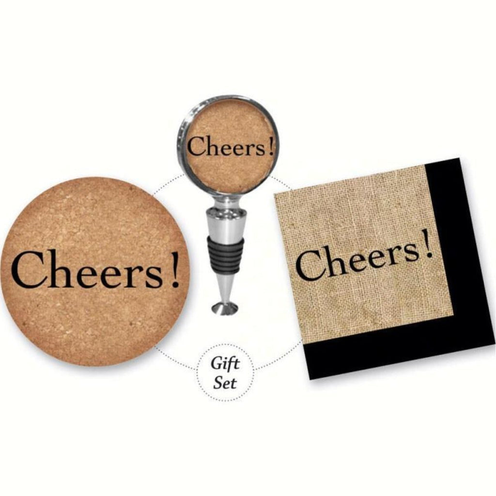 Cheers Cork It Up! Gift Set Includes Wine Stopper, Coaster, Napkins - Momma's Home Store