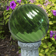 "Green 10"" Chrome Swirl Gazing Globe - Momma's Home Store"