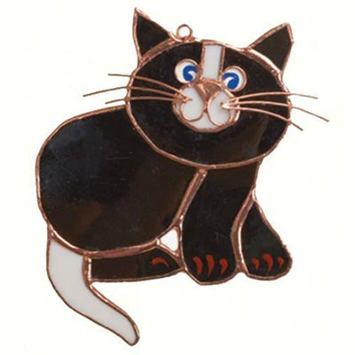 Black Cat Stained Glass Suncatcher