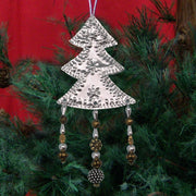 Silver Tree w/Beads Metal Ornament Set of 6