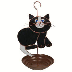 Black Cat Stained Glass Bird Feeder