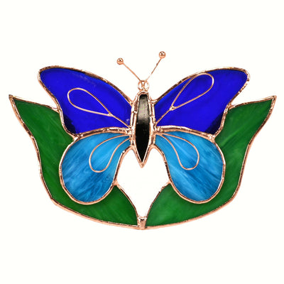 Blue Butterfly w/Leaves Suncatcher