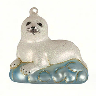 Baby Harp Seal Glass Ornament