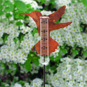 Copper Hummingbird Staked Rain Gauge