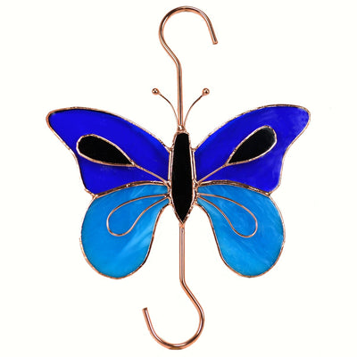 Blue Butterfly Stained Glass Hanging Hook