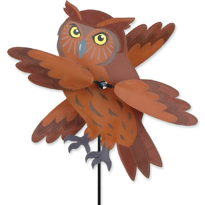 Brown Owl Whirligig Wind Spinner 18 inch