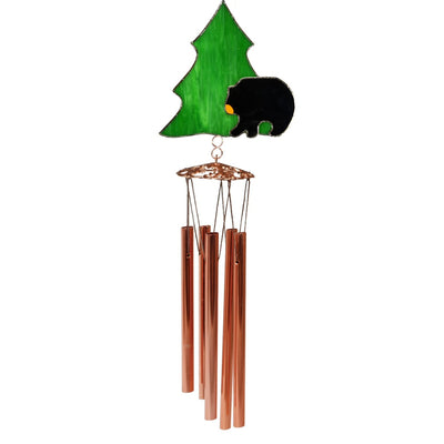 Black Bear Stained Glass Wind Chime