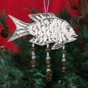 Silver Fish w/Beads Metal Ornament Set of 6