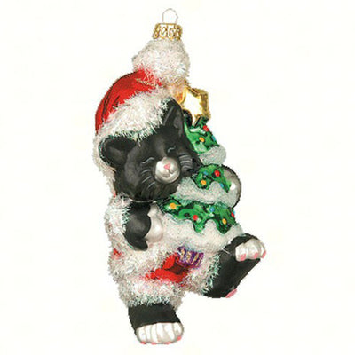 Black Christmas Kitty Ornament