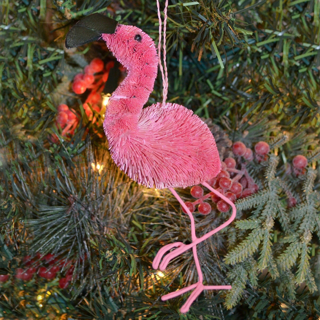 Flamingo Bristle Brush Ornament
