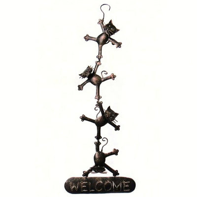 Hanging Cats Metal Welcome Sign