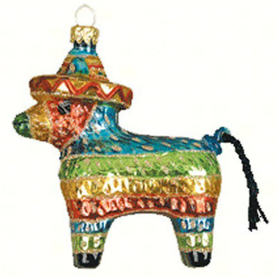 Donkey Pinata Glass Ornament