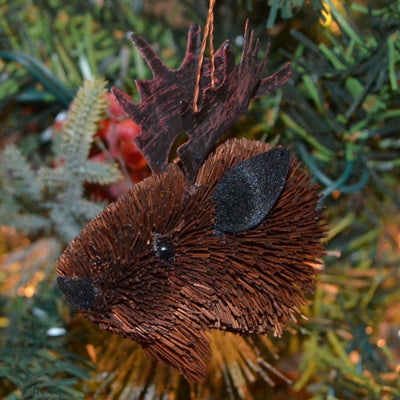 Moose Bauble Bristle Brush Ornament