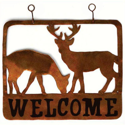 Doe & Buck Metal Hanging Welcome Sign