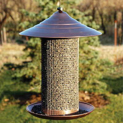 Brushed Copper Sunflower Seed Bird Feeder