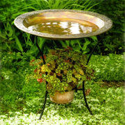 Copper Plated Steel Birdbath w/Stand