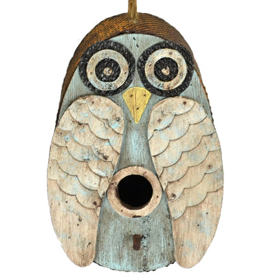 Blue Owl Wooden Birdhouse