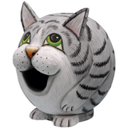 Grey Tabby Cat Gord-O Wooden Birdhouse