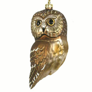 Northern Saw Whet Owl Glass Ornament