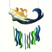 Mermaid Sandblasted Glass Wind Chime