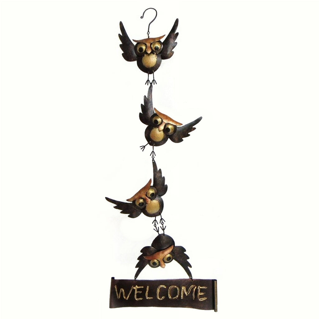 Hanging Owls Metal Welcome Sign