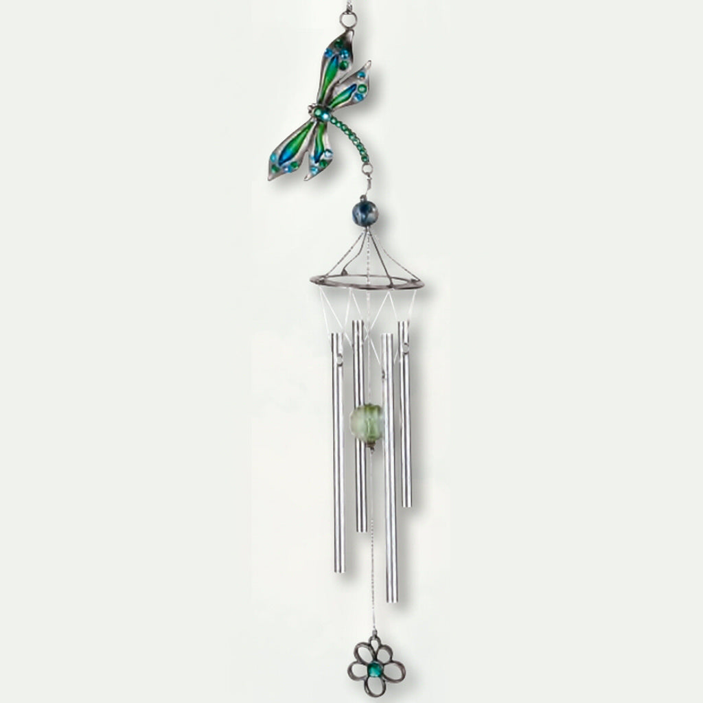 Pewterworks Dragonfly Crystal Wind Chime