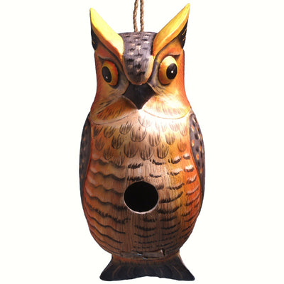 Great Horned Owl Wooden Birdhouse