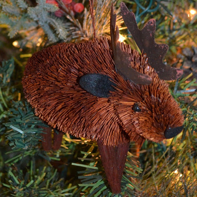 Moose Bristle Brush Ornament 6 inch