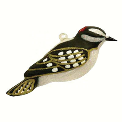 Downy Woodpecker Glass Ornament