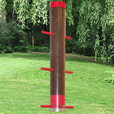 Finches Favorite Tube Bird Feeder Red 12 inch