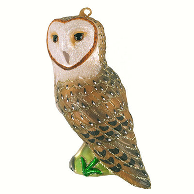 Barn Owl Glass Ornament