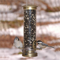 "Quick Clean Tube Bird Feeder - 12"" Antique Brass - Momma's Home Store"