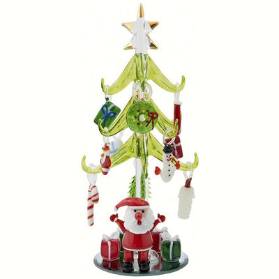 Glass Santa Tree w/Ornaments 8 inch