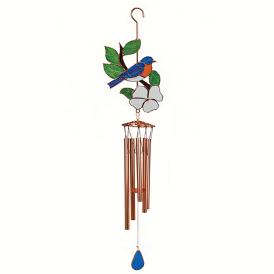 Bluebird Stained Glass Wind Chime 40 inch