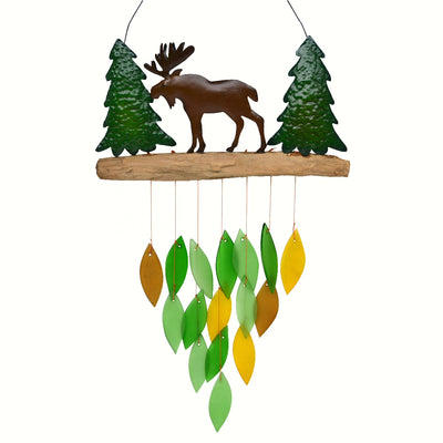 Forest Moose Glass Wind Chime