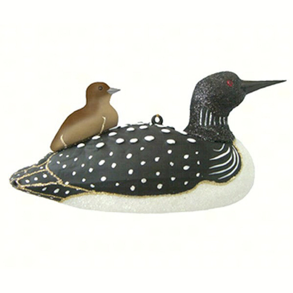 Loon With Baby Glass Bird Ornament