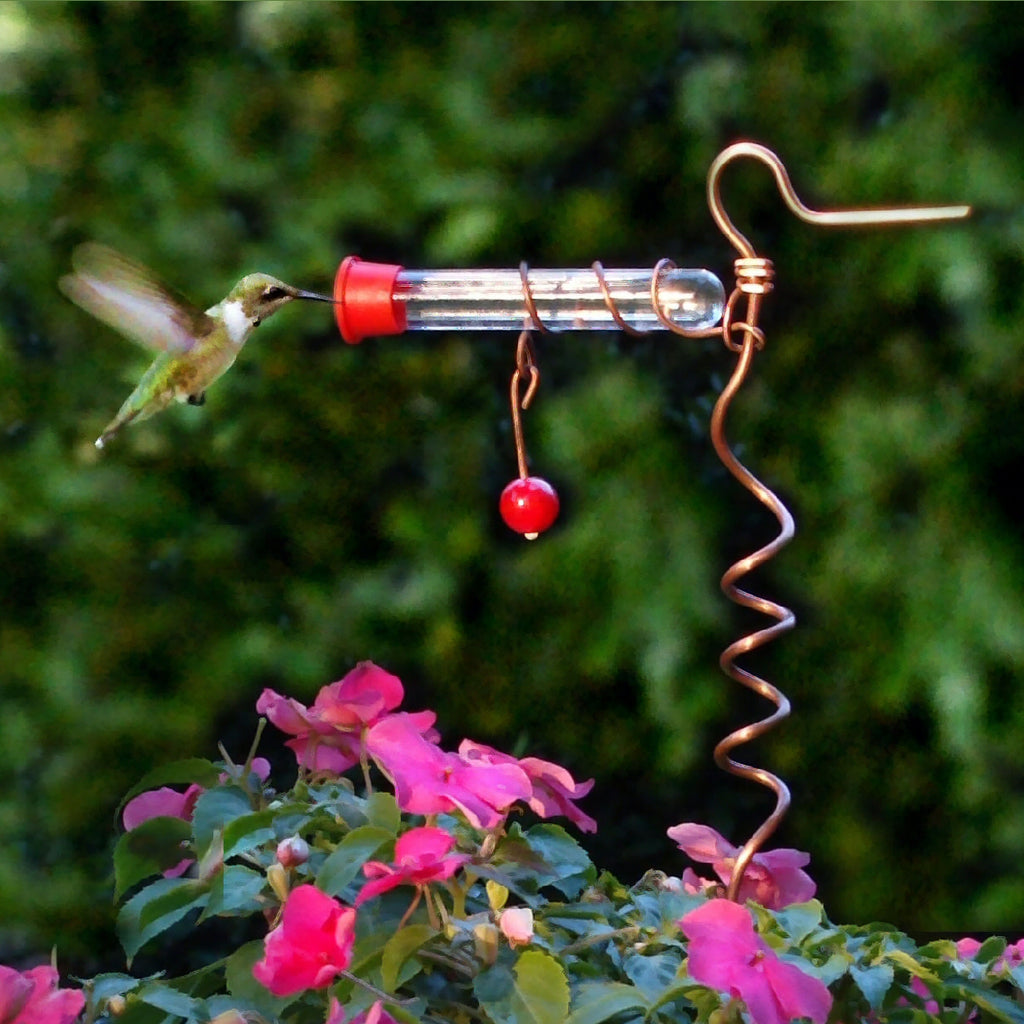 Flower Pot Copper Hummingbird Feeder